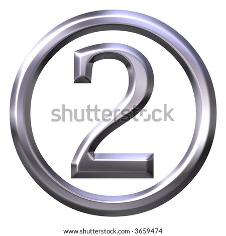 3D Silver Number 2 - stock photo