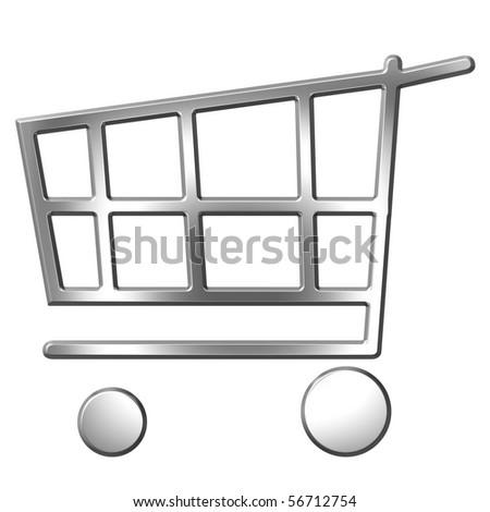 3d silver shopping cart - stock photo