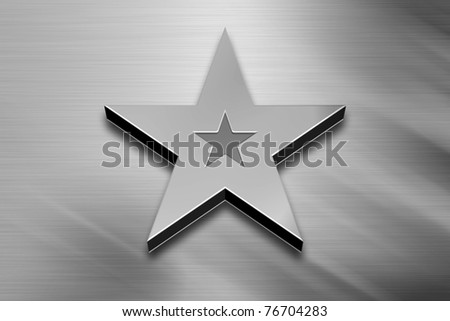 3D Silver Star on a Grey Background - stock photo