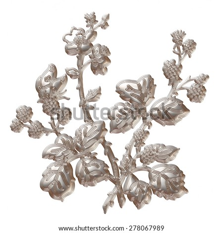 3d silver tree isolated on white.