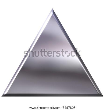 3D Silver Triangle - stock photo