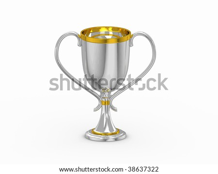 3d silver winning cup isolated on white