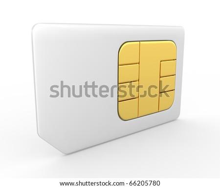3d sim card - stock photo