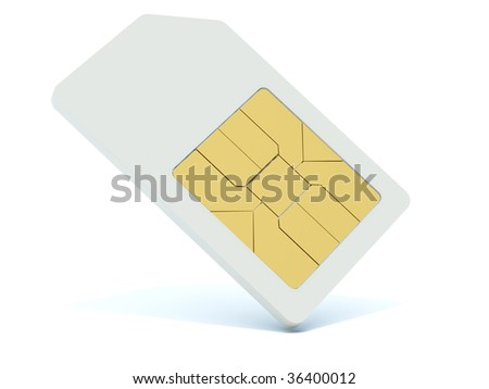 3d sim card isolated on white - stock photo