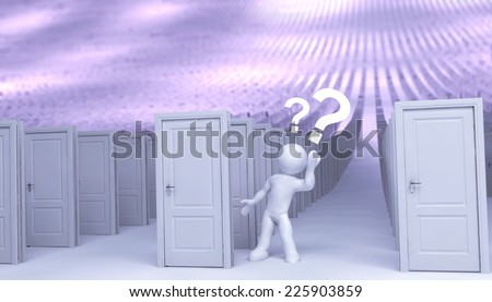 3d simple guy and many doors - stock photo