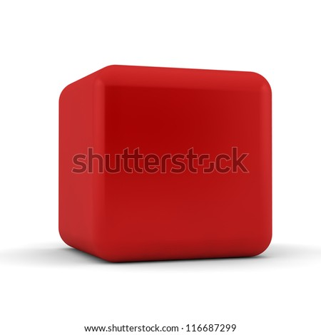 3d simple red cube with blank faces and equilateral sides that are bevelled , rounded and shaped on a white background - stock photo