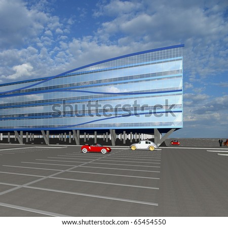 3D Sketch of  modern commercial building - stock photo