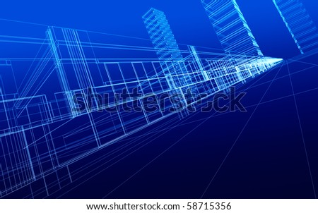 3D sketch of office buildings. Concept - modern city and  architecture - stock photo