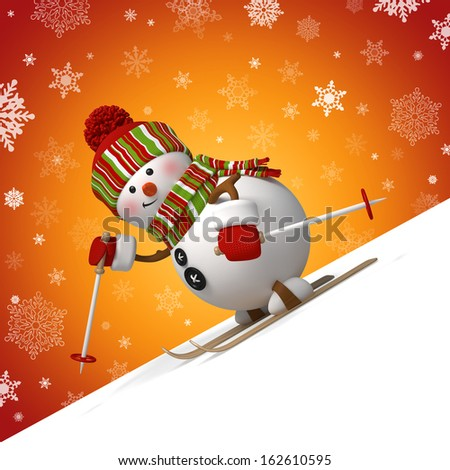 3d skiing snowman, Christmas greeting card, winter sports - stock photo