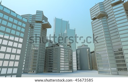 3d skyline, blue sky wallpaper