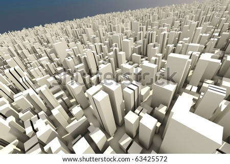 3d skyline of a city, aerial view - stock photo