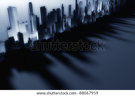 3d Skyscrapers of future modern city - stock photo