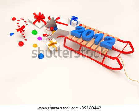 3d Sled with Decorative Christmas Elements on white snow. With place for your text - stock photo