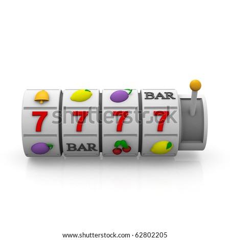 3d slot machine - stock photo