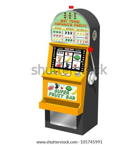 3D slot machine (traditional type). - stock photo