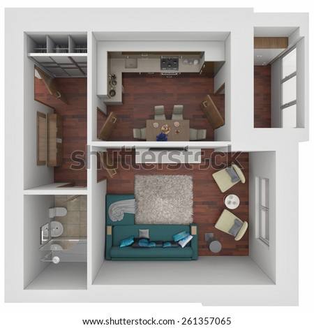 3d small apartment layout - stock photo