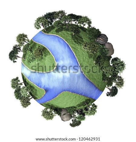 3D small green planet - stock photo