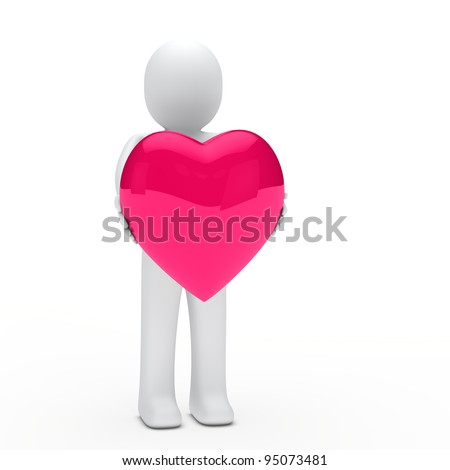 3d small man hold a pink heard - stock photo