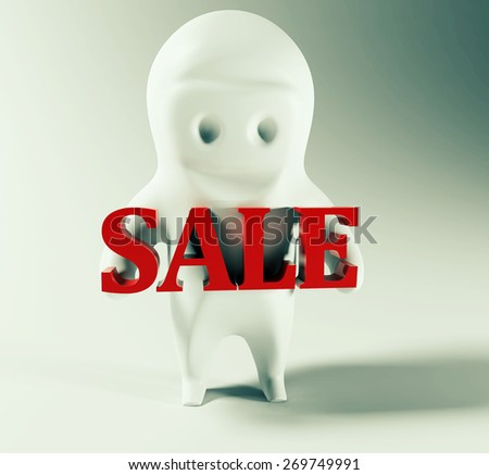 3d small man holding sale sign.  - stock photo