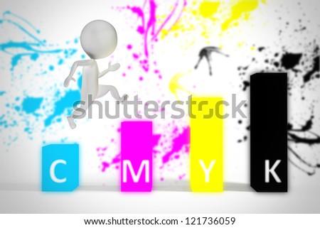 3d small man jumps on cmyk colors blocks - stock photo
