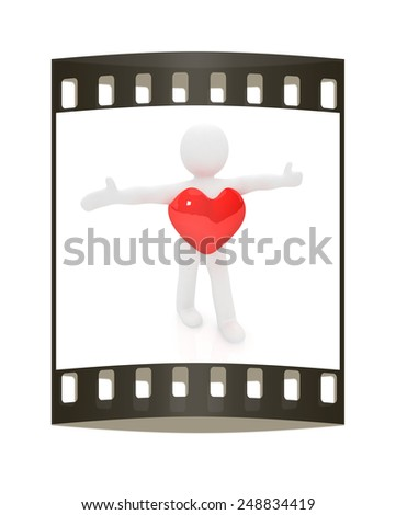 3d small man with a heart. 3d image. Isolated white background. The film strip - stock photo