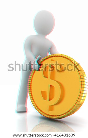 3d small man with gold dollar coin on a white background. 3D illustration. Anaglyph. View with red/cyan glasses to see in 3D. - stock photo