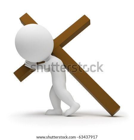 3d small people a bearing cross. 3d image. Isolated white background. - stock photo