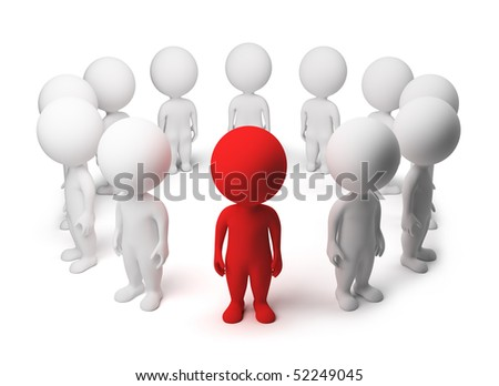 3d small people - allocated from a circle. 3d image. Isolated white background.