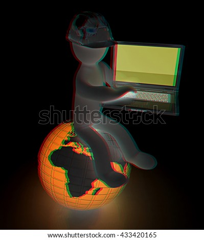 3D small people - an engineer with the laptop on a black background. 3D illustration. Anaglyph. View with red/cyan glasses to see in 3D. - stock photo