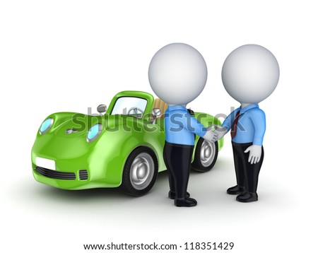 3d small people and green car.Isolated on white background.3d rendered. - stock photo