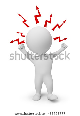 3d small people - angry with lightnings over a head. 3d image. Isolated white background. - stock photo