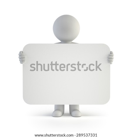 3d small people - announcement - stock photo