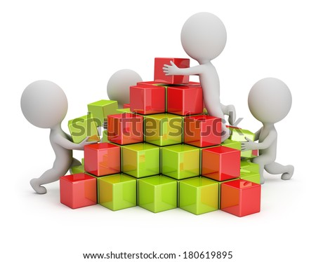 3d small people are building a pyramid of colored cubes. 3d image. White background. - stock photo