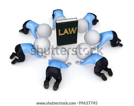 3d small people around book of law.Isolated on white background.3d rendered. - stock photo
