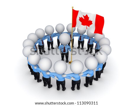 3d small people around Canadian flag.Isolated on white background.3d rendered.