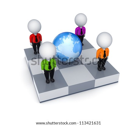 3d small people around Earth.Isolated on white background.3d rendered.