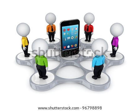 3d small people around mobile phone.Isolated on white background. - stock photo