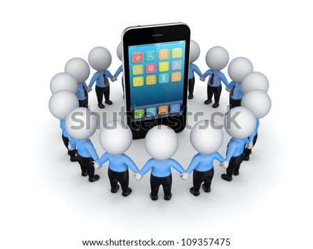 3d small people around modern mobile phone.Isolated on white background. - stock photo