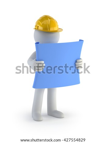 3D Small People - Builder with the Plan, Isolated white background - stock photo