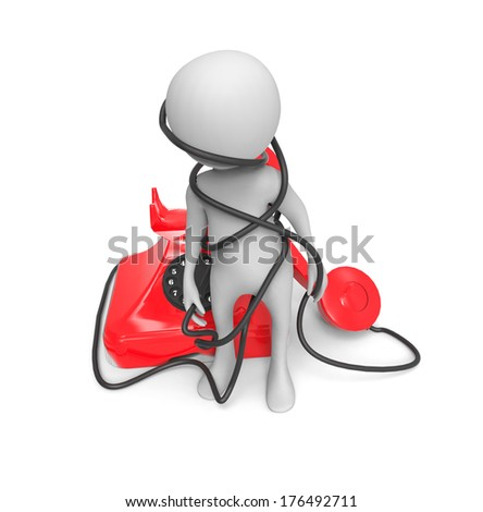3d small people - call by telephone - stock photo
