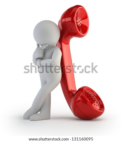 3d small people - call me - stock photo