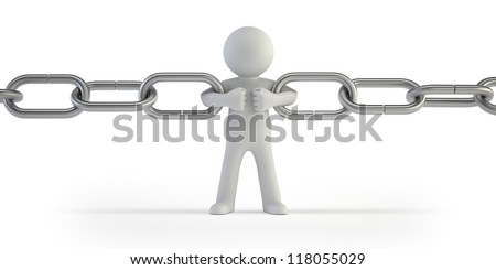 3d small people - chain link - stock photo