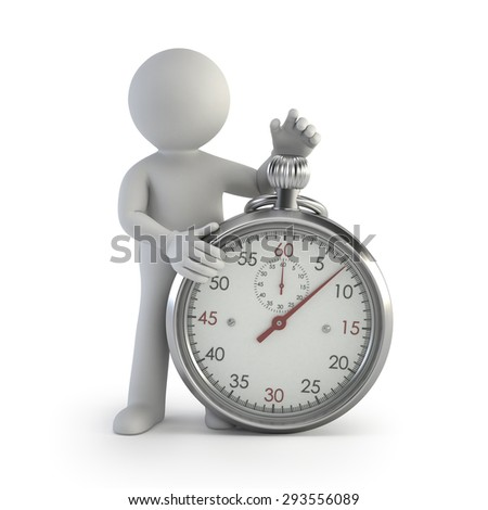 3d small people - chronometer - stock photo