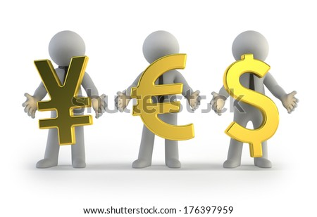 3d small people - currency - stock photo