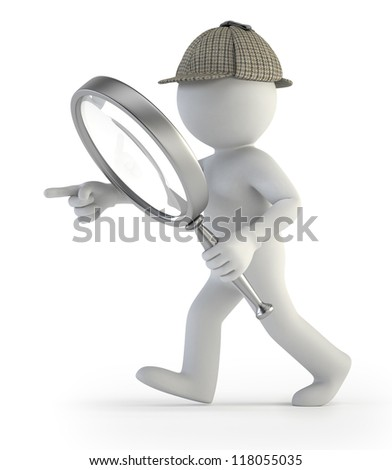 3d small people - detective - stock photo