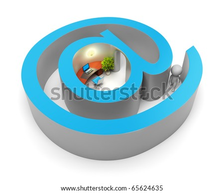 3d small people entering into the Internet. 3d image. Isolated white background. Clipping path included. - stock photo