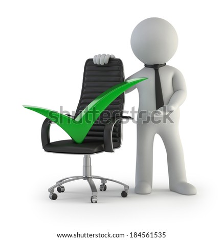 3d small people - executive chair green check