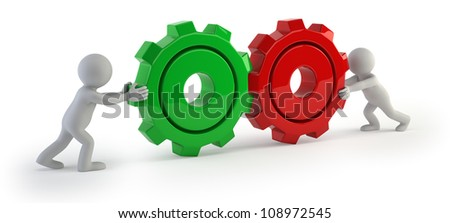 3d small people - gear connect - stock photo