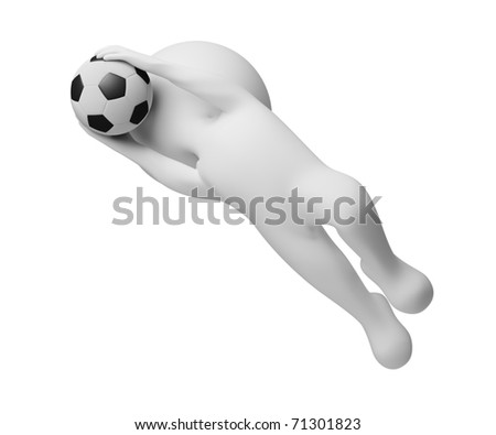 3d small people - goalkeeper a catching ball. 3d image. Isolated white background. - stock photo