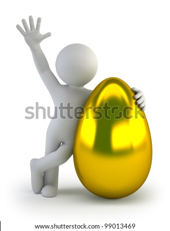 3d small people - golden egg - stock photo